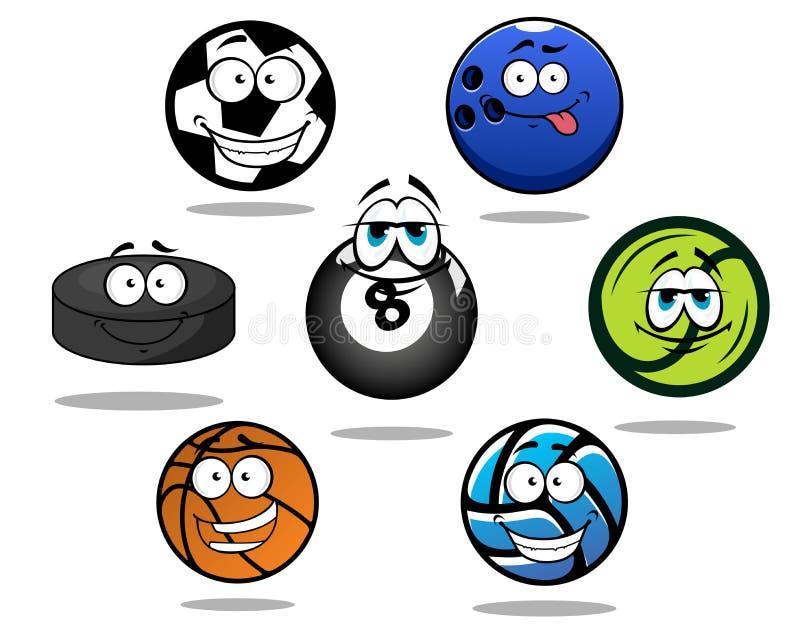 Beeldverhaal sportieve ballen en puckkarakters vector illustratie