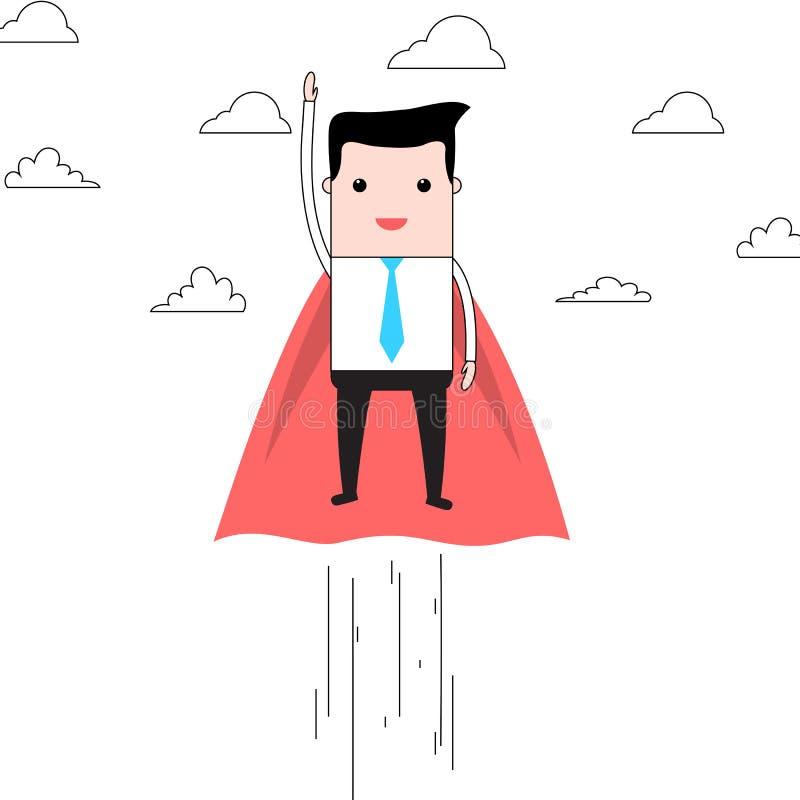 Beeldverhaal super zakenman die in wolken vliegen royalty-vrije illustratie