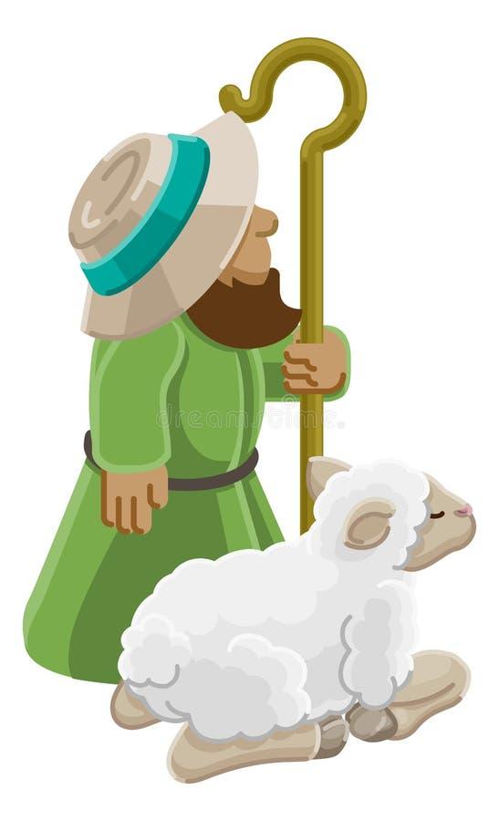 Beeldverhaal Traditionele Herder en Schapen of Lam vector illustratie