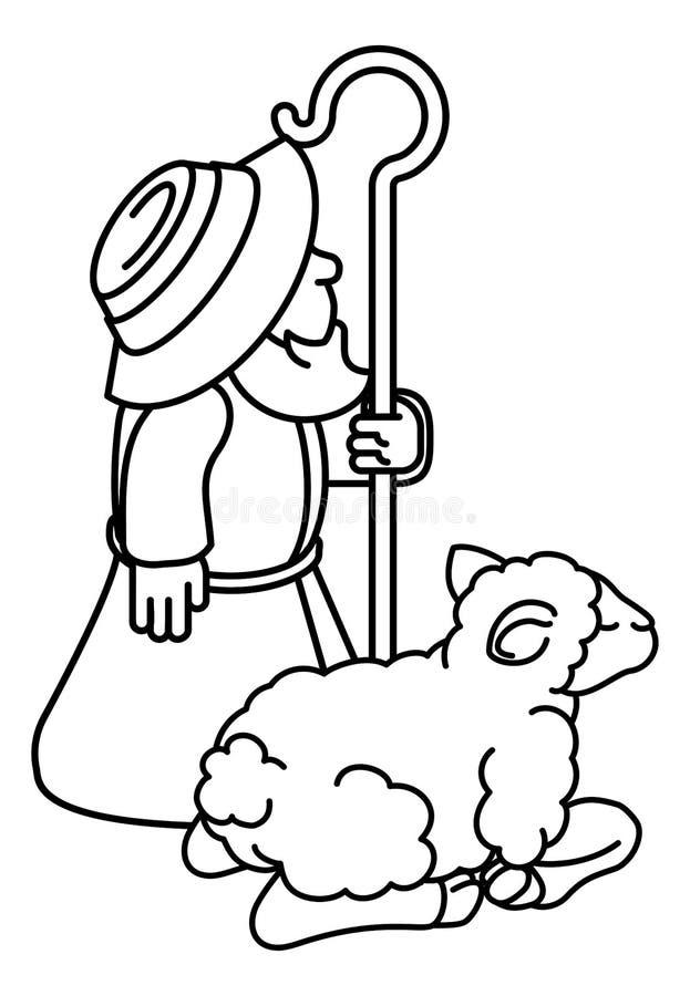 Beeldverhaal Traditionele Herder en Schapen of Lam royalty-vrije illustratie