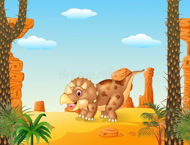 Beeldverhaal triceratops gehoornde dinosaurus drie met de woestijnachtergrond royalty-vrije illustratie