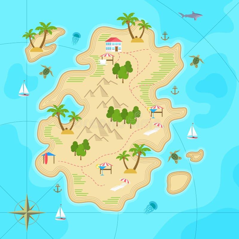 Beeldverhaal tropisch eiland in oceaan De hoogste kaart van het menings exotische eiland Vectorspelontwerp voor app royalty-vrije illustratie