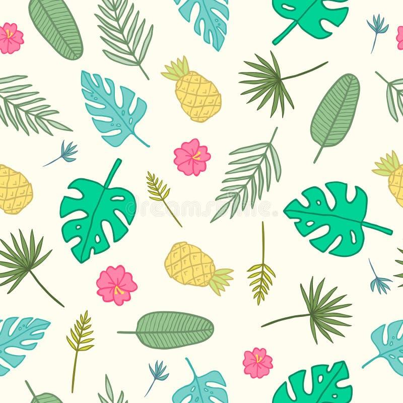Beeldverhaal tropisch patroon Bladeren, palmen, ananassen, bloemen royalty-vrije illustratie