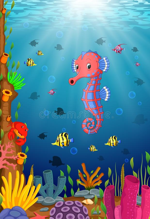 Beeldverhaal tropisch zeepaardje met mooie onderwaterwereld vector illustratie