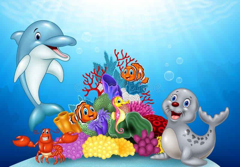 Beeldverhaal tropische vissen met mooie onderwaterwereld royalty-vrije illustratie