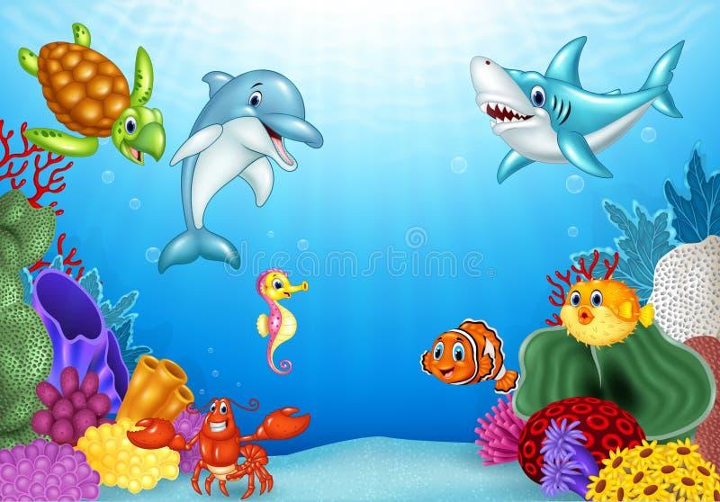 Beeldverhaal tropische vissen met mooie onderwaterwereld stock illustratie