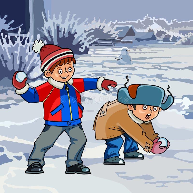 Beeldverhaal twee jongens die sneeuwballen in de winter spelen royalty-vrije illustratie
