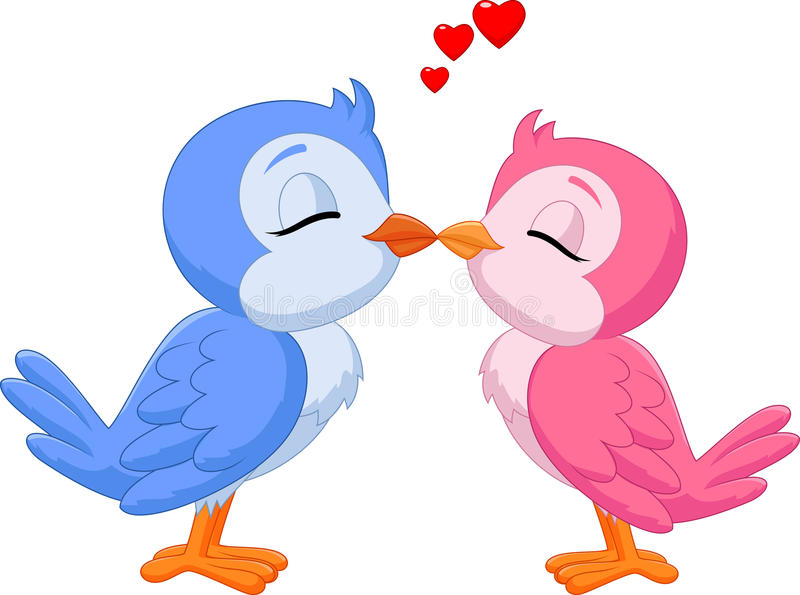 Beeldverhaal twee liefdevogels het kussen vector illustratie