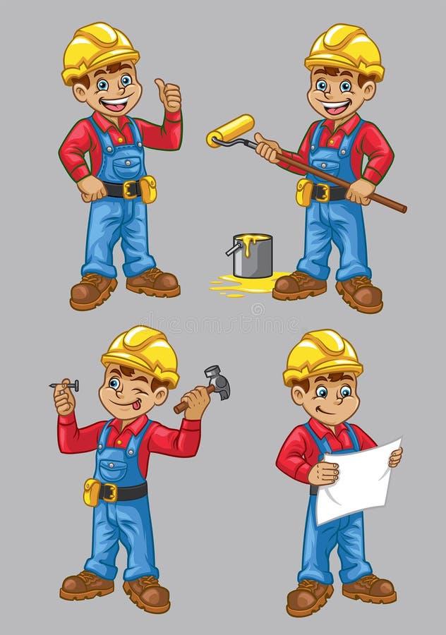 Beeldverhaal van bouwvakkerkarakter in reeks stock illustratie