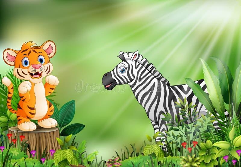 Beeldverhaal van de aardscène met een babytijger die zich op boomstomp en zebra bevinden royalty-vrije illustratie