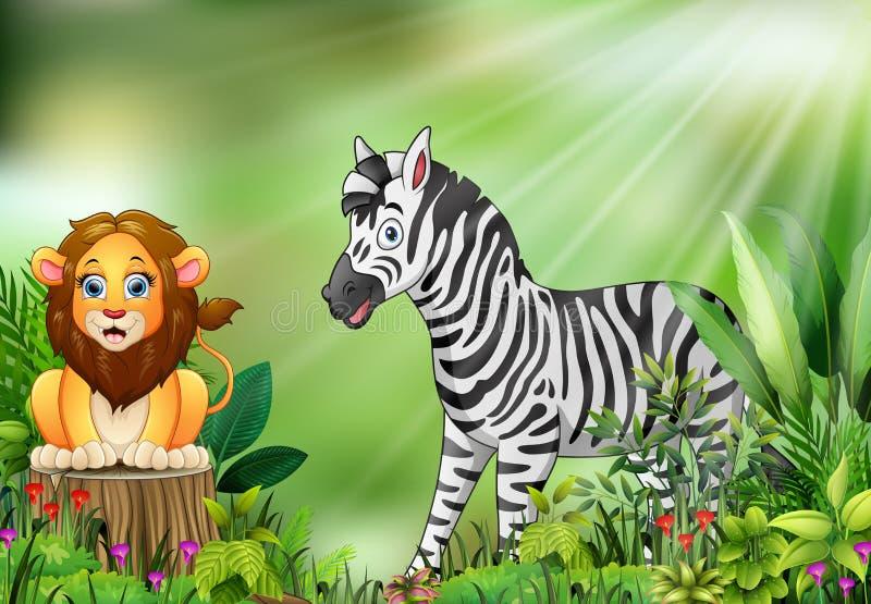 Beeldverhaal van de aardscène met een leeuwzitting op boomstomp en zebra royalty-vrije illustratie