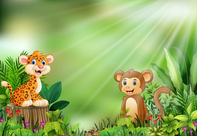 Beeldverhaal van de aardscène met een zitting van de babyluipaard op boomstomp en aap vector illustratie