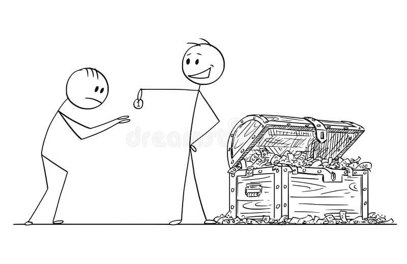 Beeldverhaal van de Arrogante Arrogante Mens of Zakenman Giving One Coin aan Bedelaar of Suppliant royalty-vrije illustratie