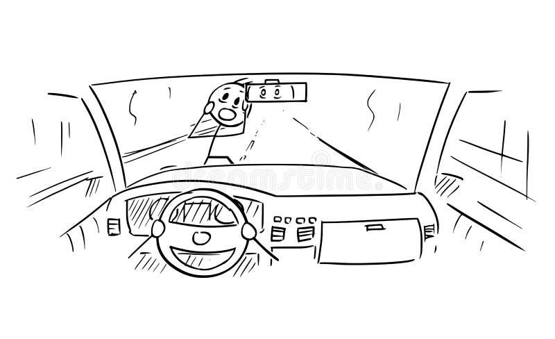 Beeldverhaal van van de Autodashboard en Bestuurder Handen op Stuurwiel terwijl de Voetganger bijna wordt gereduceerd royalty-vrije illustratie