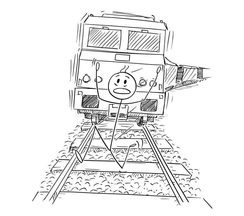 Beeldverhaal van de Bang gemaakte Mens die op Sporen vanaf de Trein lopen die achter hem berijden vector illustratie