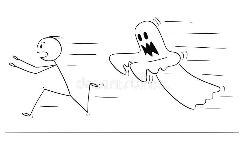 Beeldverhaal van de Bang gemaakte Mens die vanaf Spook lopen royalty-vrije illustratie