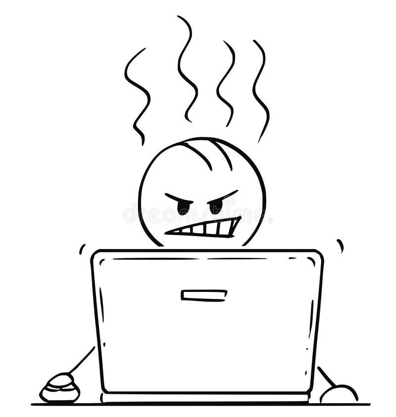 Beeldverhaal van de Boze Mens of Zakenman Working op Laptop Computer stock illustratie