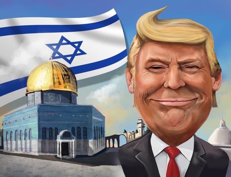 Beeldverhaal van de erkenning van Verenigde Staten van Jeruzalem als Israëlisch GLB royalty-vrije stock foto