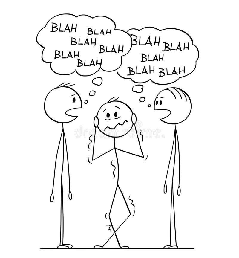 Beeldverhaal van de Gefrustreerde Mens die Twee Mensengesprek met nonsens-Nonsens Toespraakbellen horen vector illustratie