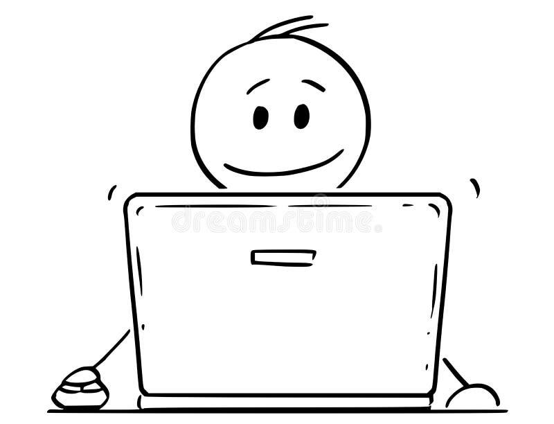 Beeldverhaal van de Glimlachende Mens of Zakenman Working op Laptop of Notitieboekjecomputer royalty-vrije illustratie
