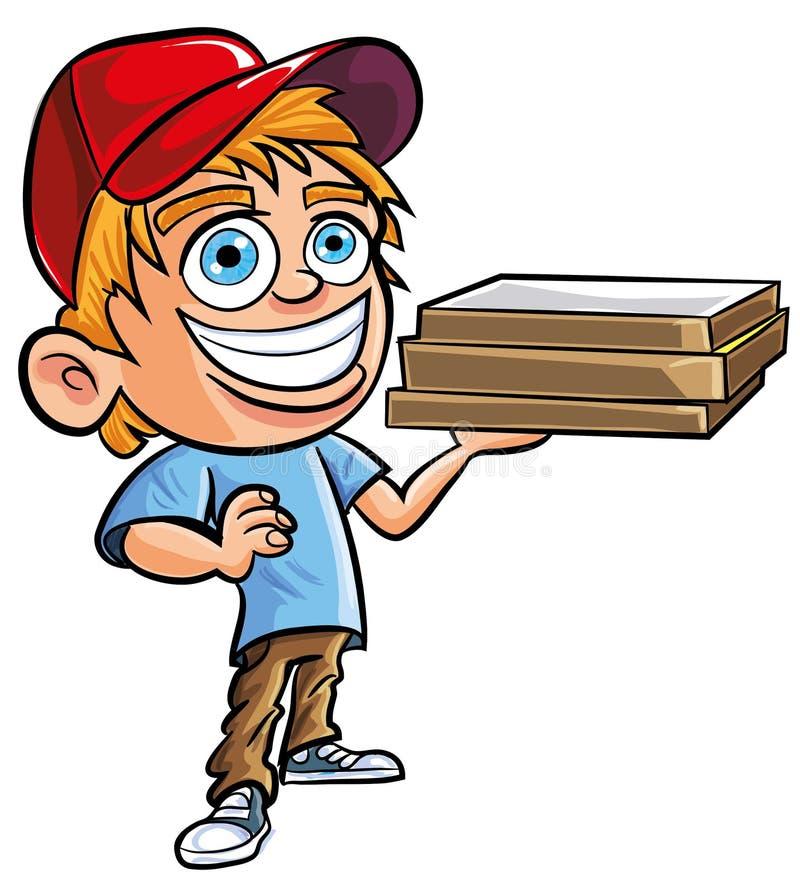 Beeldverhaal Van De Leuke Jongen Van De Pizzalevering Stock Fotografie