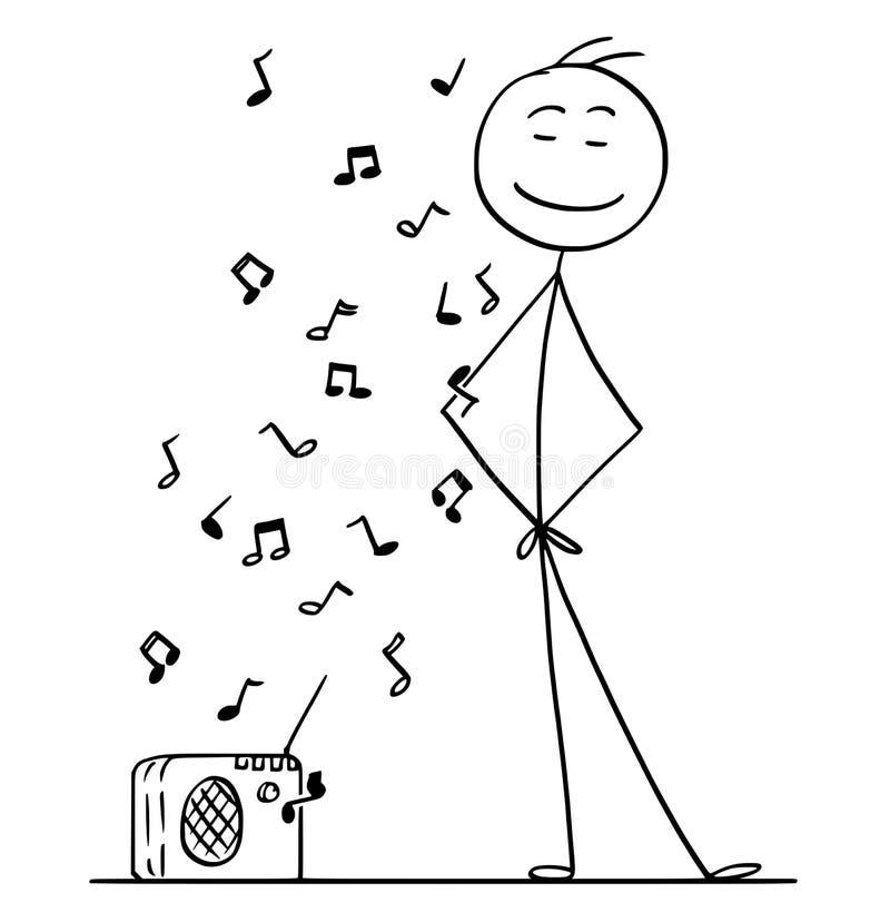 Beeldverhaal van de Mens die een Muziek van Kleine Radio luisteren royalty-vrije illustratie