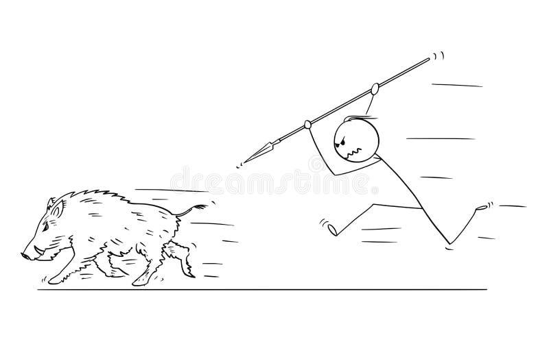 Beeldverhaal van de Mens die Everzwijn met Spear jagen royalty-vrije illustratie