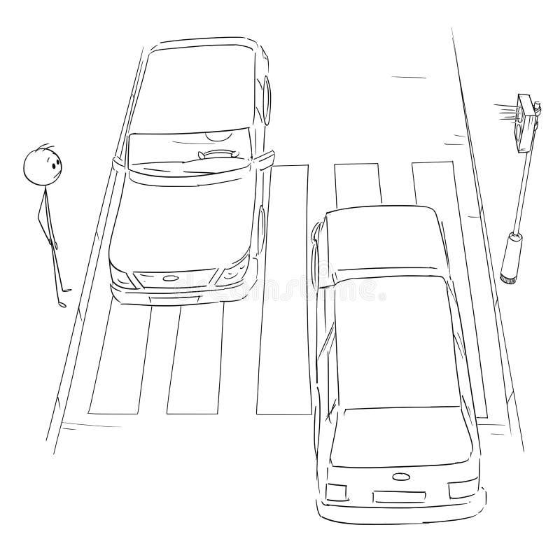 Beeldverhaal van de Mens die op Voetgangersoversteekplaats of Zebrapad op Groen Licht op Rode lichten wachten, Auto's het Overgaa vector illustratie