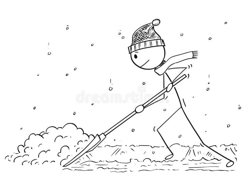 Beeldverhaal van de Mens met Sneeuwopdringer die de Sneeuw scheppen stock illustratie