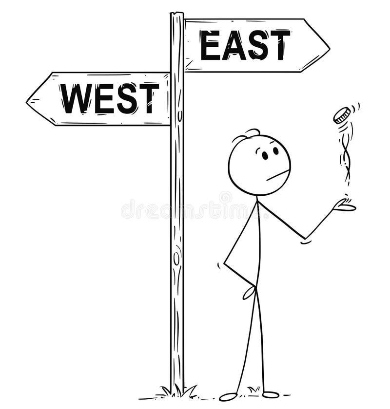Beeldverhaal van de Mens, Politicus of Zakenman Making Decision door een Muntstuk onder het Westen of van het Oosten Pijlen Weg t royalty-vrije illustratie