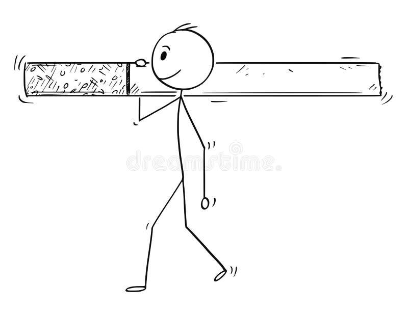 Beeldverhaal van de Mens of Zakenman Carrying Big Cigarette vector illustratie