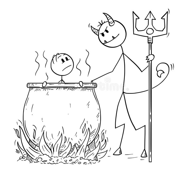 Beeldverhaal van de Mens of Zakenman, die voor Zijn Zonden door Duivel in Ketel in Hel worden gekookt stock illustratie