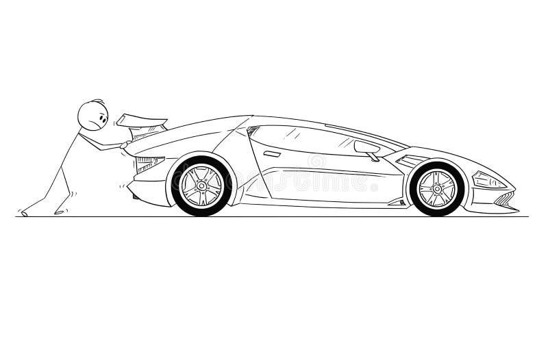 Beeldverhaal van de Mens of Zakenman Pushing Broken of uit Gas Dure Luxueuze Sportwagen stock illustratie