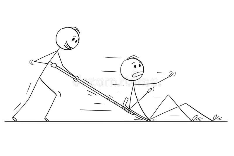 Beeldverhaal van de Mens of Zakenman With Snow Pusher of Schop die Een andere Mensen duwen stock illustratie