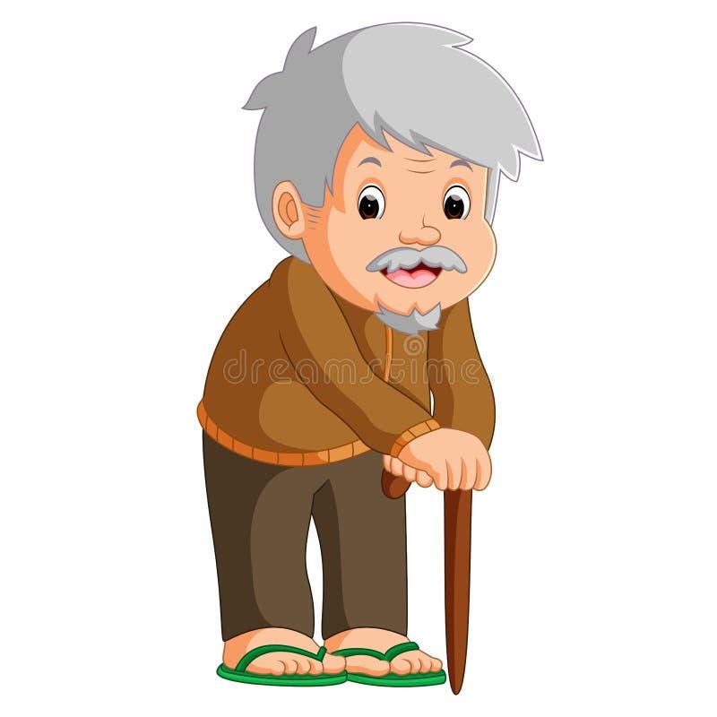 Beeldverhaal van de oude mens met een wandelstok vector illustratie