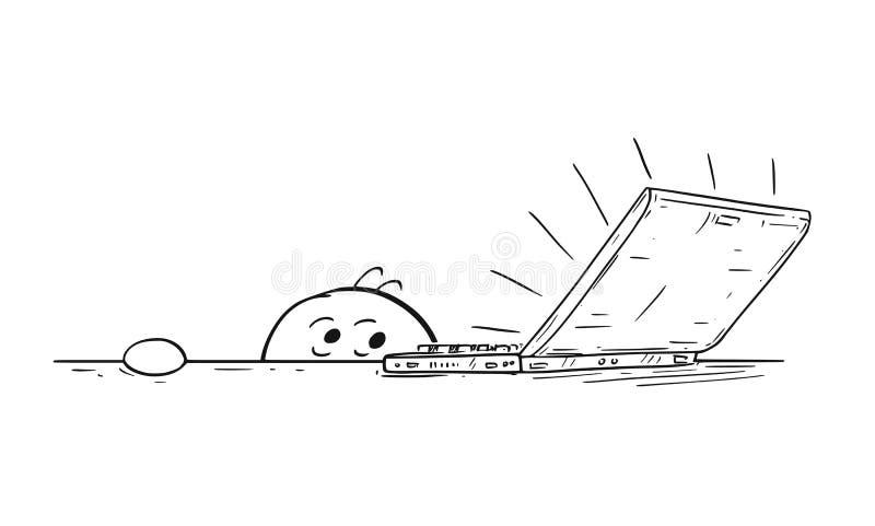 Beeldverhaal van de Student Feared van de Mensenzakenman van Laptop Computer vector illustratie