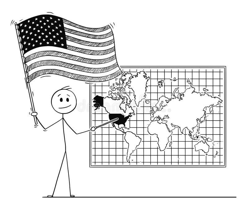 Beeldverhaal van de Vlag en het Richten van de V.S. van de Mensenholding in de Verenigde Staten van Amerika op de Kaart van de Mu vector illustratie