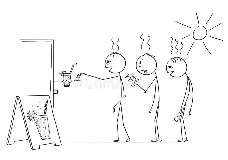 Beeldverhaal van Drie Uitgeputte Mensen die in de Hete Zomer in Rij wachten om Soda, Water of Limonade te kopen royalty-vrije illustratie