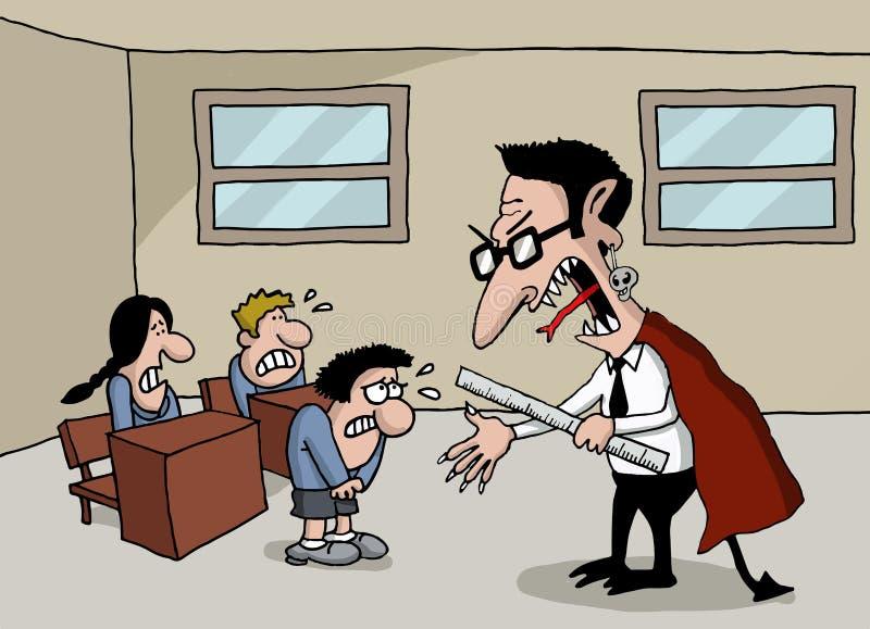 Beeldverhaal van een monsterleraar in school royalty-vrije illustratie
