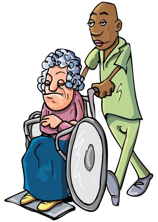 Beeldverhaal van een oppasser die een oude dame duwt stock illustratie