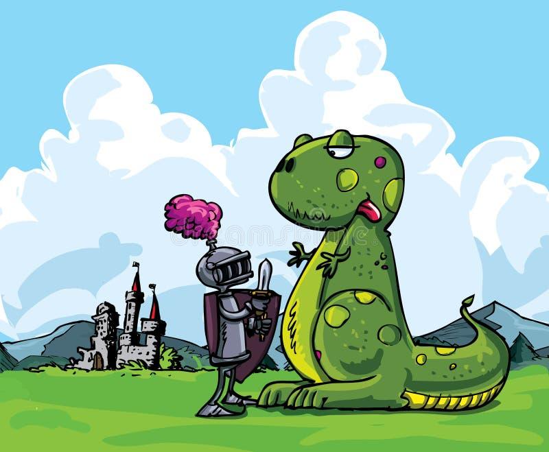 Beeldverhaal van een ridder die een woeste draak onder ogen ziet vector illustratie