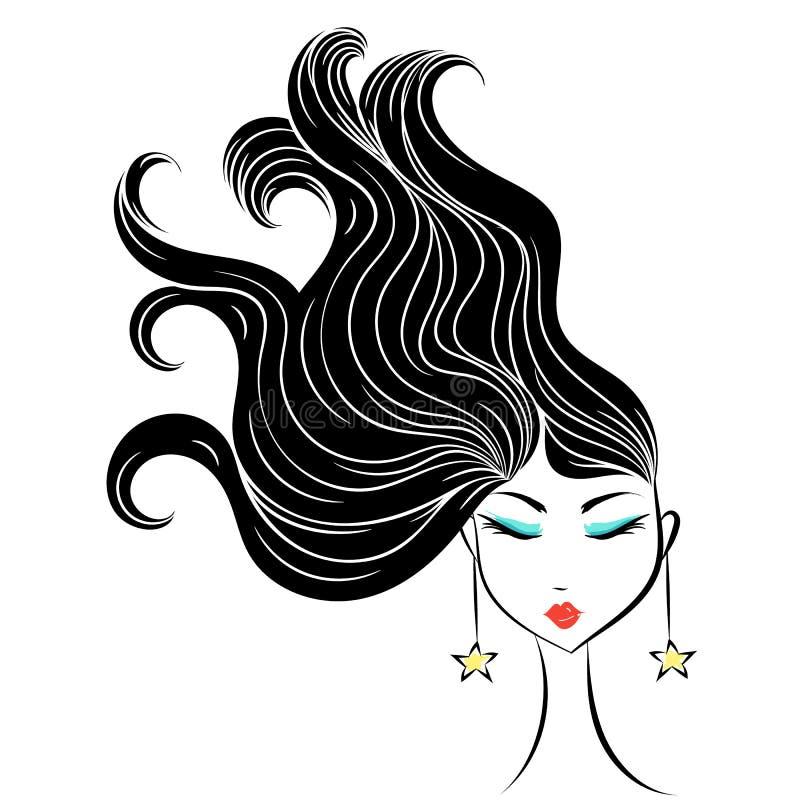 Beeldverhaal van het gezichts het betoverende meisje royalty-vrije illustratie