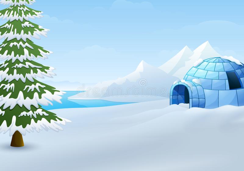 Beeldverhaal van Iglo met sparren en bergen in de winterillustratie royalty-vrije illustratie