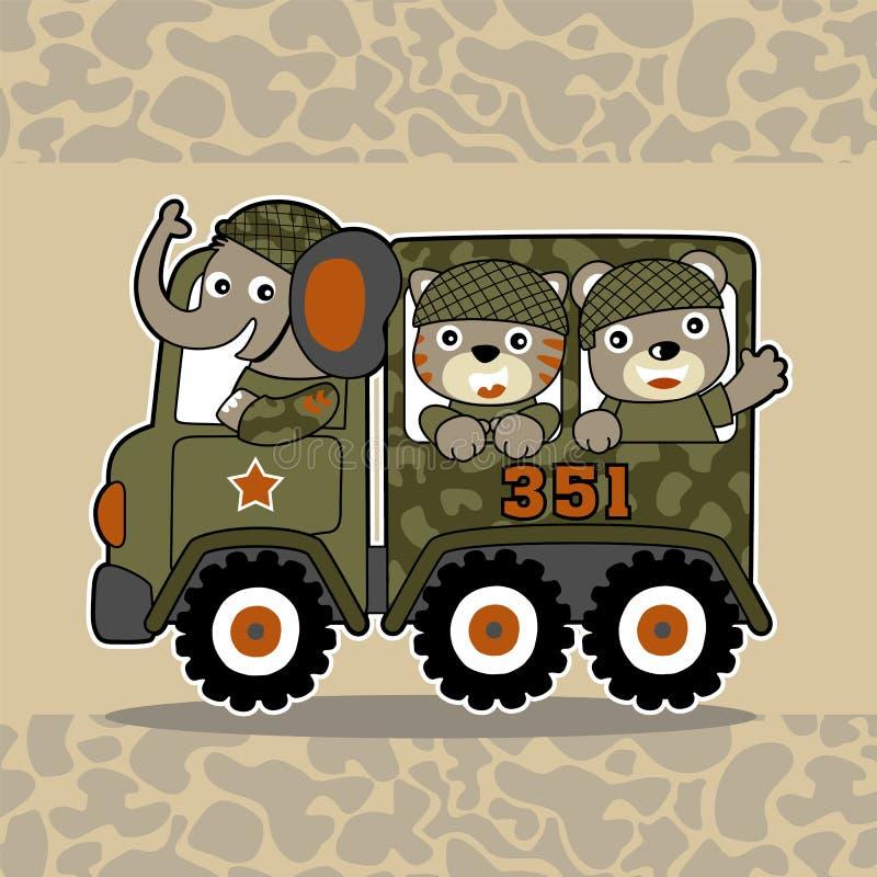 Beeldverhaal van kleine dierlijke militairen vector illustratie