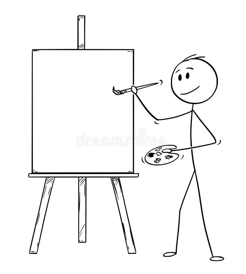 Beeldverhaal van Kunstenaar With Brush en Palet Klaar om op het Canvas op Schildersezel te schilderen royalty-vrije illustratie