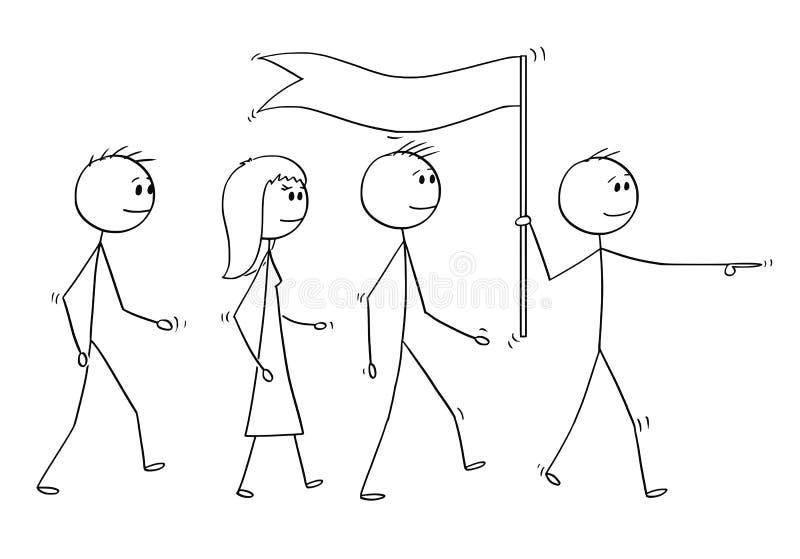 Beeldverhaal van Leider With Flag Leading een Team van Bedrijfsmensen vector illustratie