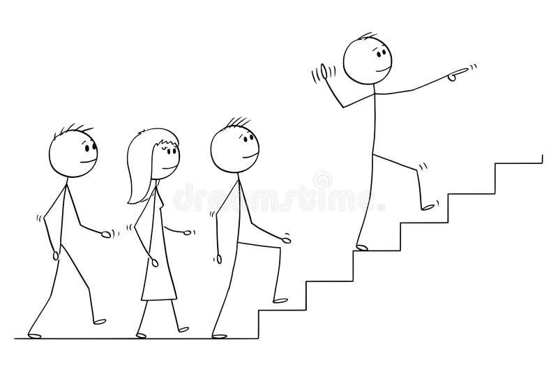 Beeldverhaal van Leider Leading een Team van Bedrijfsmensen boven vector illustratie