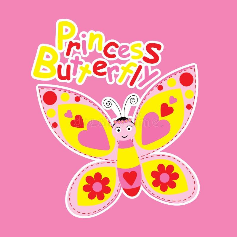 Beeldverhaal van leuke prinsesvlinder vector illustratie