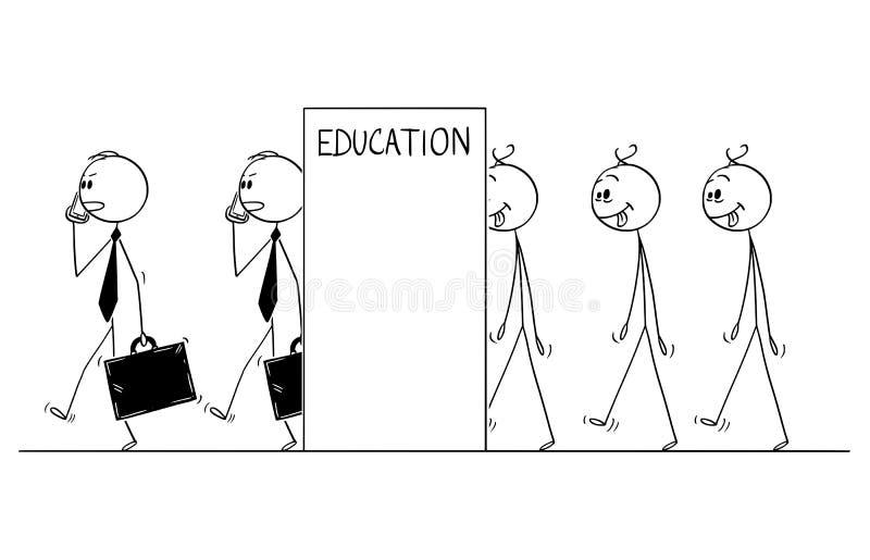 Beeldverhaal van Lijn van Dull Men Transforming binnen aan Zakenlieden, Concept Onderwijs vector illustratie