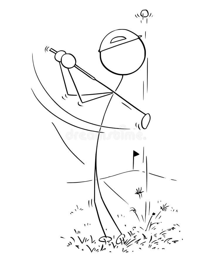 Beeldverhaal van Mannelijke Golfspeler royalty-vrije illustratie